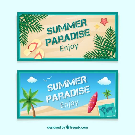 Summer and surf banners Free Vector