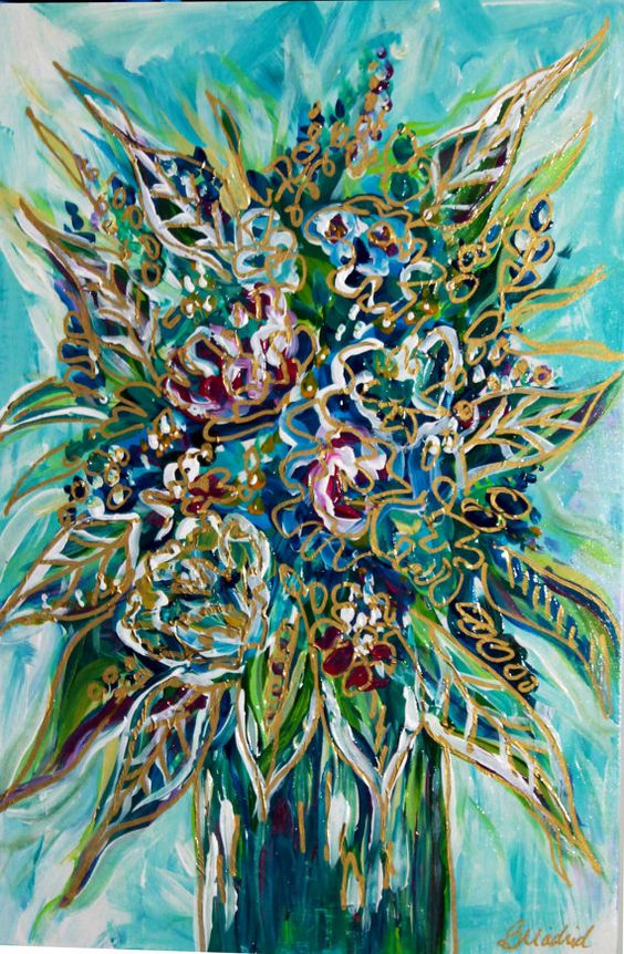 """Acrylic Impressionist Floral Painting, wood canvas, bright colors, blue, metallic gold accents  7.5"""" x 11"""" x 1.5"""" - custom orders available"""