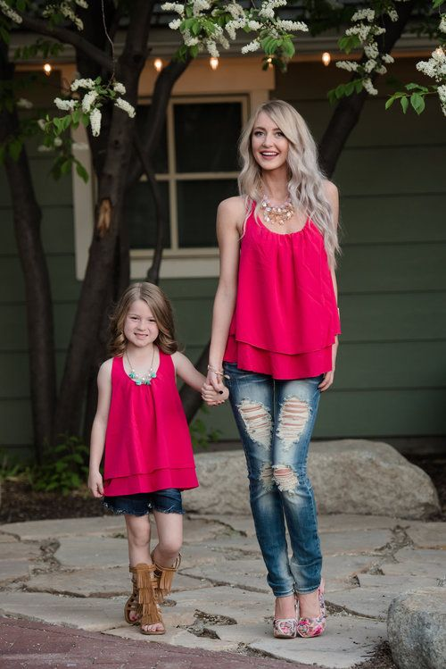 Mommy and Me Ruffle Back Chiffon Tank Fuchsia - Ryleigh Rue Clothing by Modern Vintage Boutique: