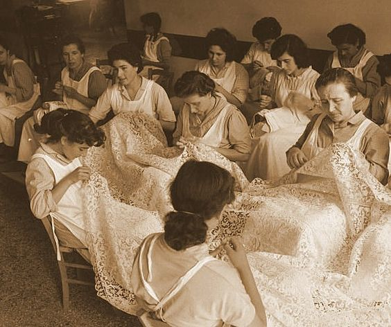 Burano Lace Makers - For the creation of a large piece of Burano lace, more than 5 steps were necessary, & at least 5 ladies were needed to complete the lace artwork.: