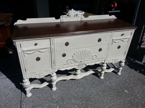 Country Grey sideboard with a kona stained top.