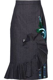 Holly Fulton Ruffled embroidered denim midi skirt
