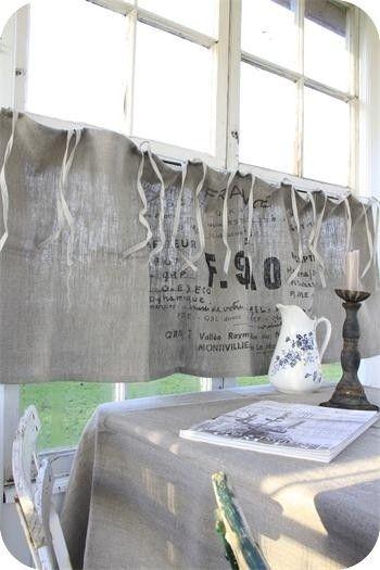 cafe curtains grain sack and jute on pinterest. Black Bedroom Furniture Sets. Home Design Ideas