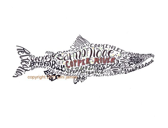 Alaska Salmon Art Pen Ink Illustration Typography Fish