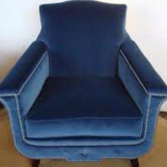 Blue velvet chair with tacks