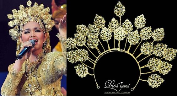 Minang headdress crown Malay tiara Krone diadème Asian Couronne Diadem islamic