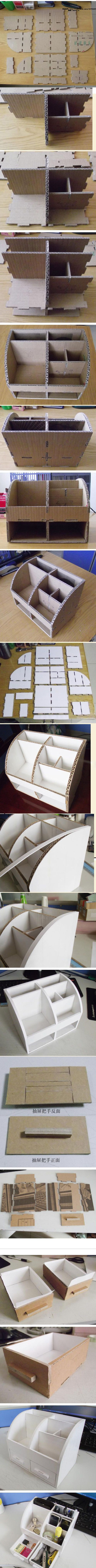 DIY Carton Office Stationery Box DIY Projects / UsefulDIY.com