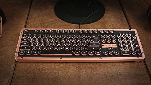 Azio Retro Classic Artisan Usb Luxury Vintage Back Lit Mechanical Keyboard Blue Switch Black Leather Zinc Alloy Frame Mk Ret Luxury Vintage Retro Vintage