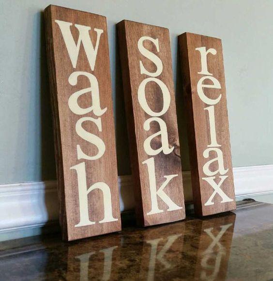 Wash Soak Relax Sign Bathroom Wall Decor Bathroom Sign by CSCbyMeg ...