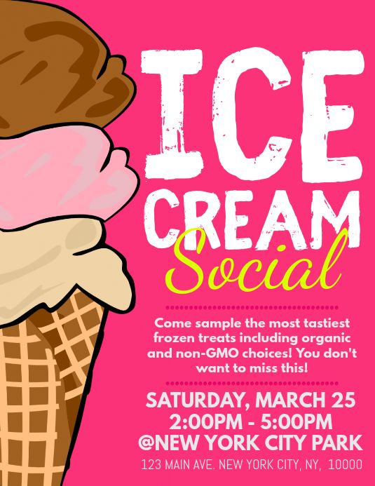 Ice Cream Social Ice Cream Social Ice Cream Social Party Ice Cream Poster