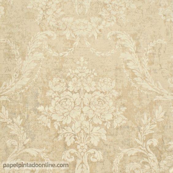 Papel pintado paris rs70401 con fondo beige oscuro y for Papel pintado romantico