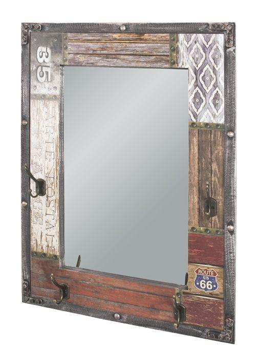 Wandgarderobe Und Wandspiegel Vintage Mdf Metall 55x8x75cm