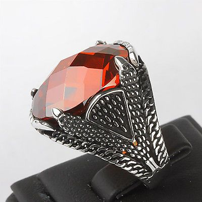 MEN's Ring 925 K Sterling Silver 10.5 US Size Handmade with Red Quartz