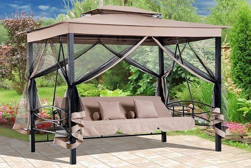 Outsunny 3 Seat Hammock Swing Bench W 2 Tier Canopy Beige