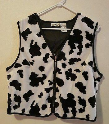 Women's White Stag Black/White Faux Fur Animal Print Zip Up Vest Size Large #465| eBay, Halloween, Christmas Shopping