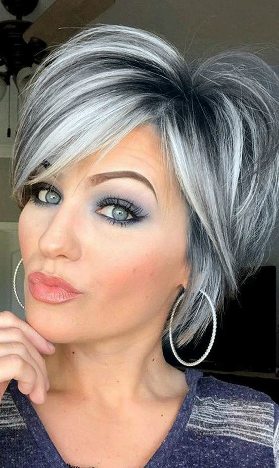 Short Grey Hair In 2020 Gray Hair Highlights Hair Styles Blending Gray Hair