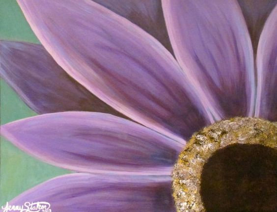 Gerbera acrylics and large canvas on pinterest for Painting large flowers in acrylic