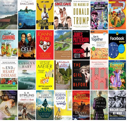 "Wednesday, October 5, 2016: The Winterset Public Library has seven new bestsellers, eight new videos, and 30 other new books.   The new titles this week include ""Hillbilly Elegy: A Memoir of a Family and Culture in Crisis,"" ""The Shallows,"" and ""Central Intelligence."""