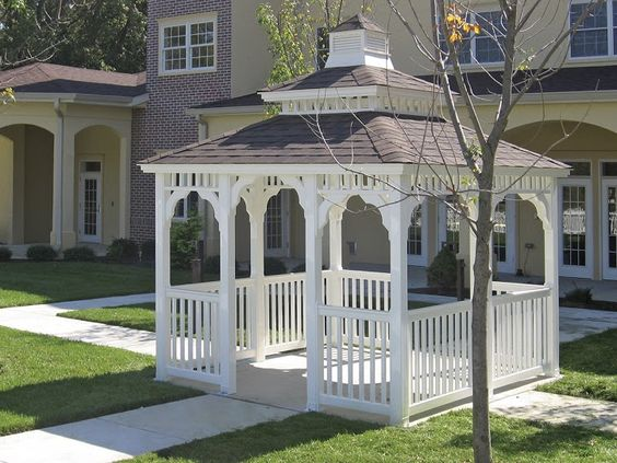 Vinyl Rectangle Gazebo with Pagoda Roof and Cupola http://www.backyardunlimited.com/gazebos
