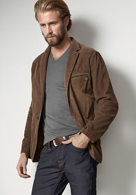 Quilted Elbow Patch Corduroy Blazer - Mens Shop The Look - True ...