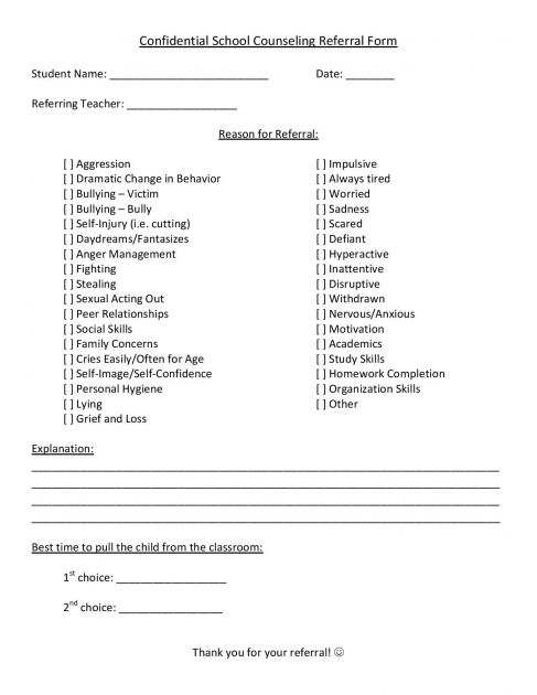 School Counseling Referral Form School counselor, School and - basketball evaluation form