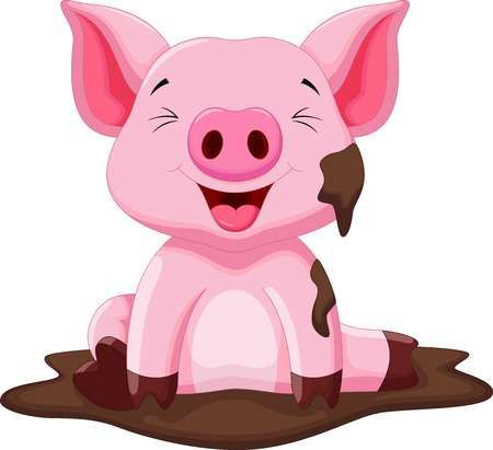 Funny Pig Playing In The Mud Pig Cartoon Funny Pigs Animal Clipart