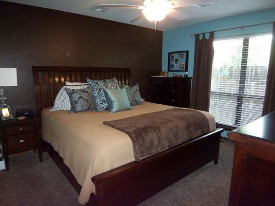 Master bedrooms blue and and paint on pinterest Brown walls in master bedroom