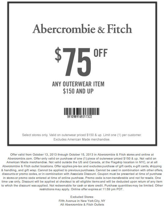 Abercrombie $75 off $150 Outerwear Printable Coupon    www - coupon sheet template