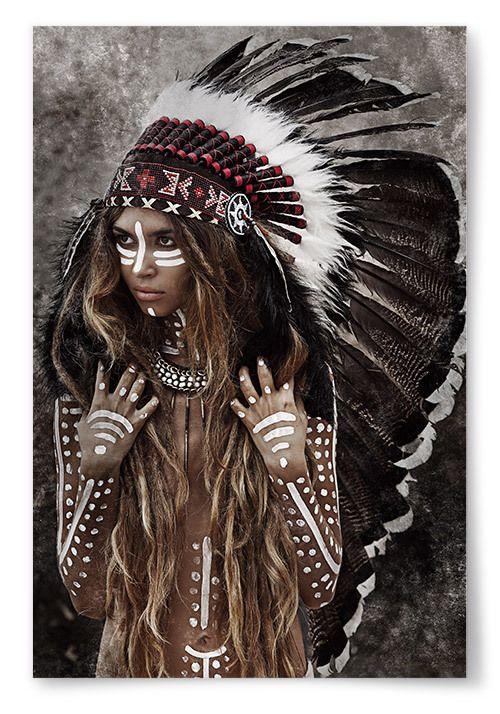 Poster Kvinna Native | Kvinna, Indiankonst, Indian