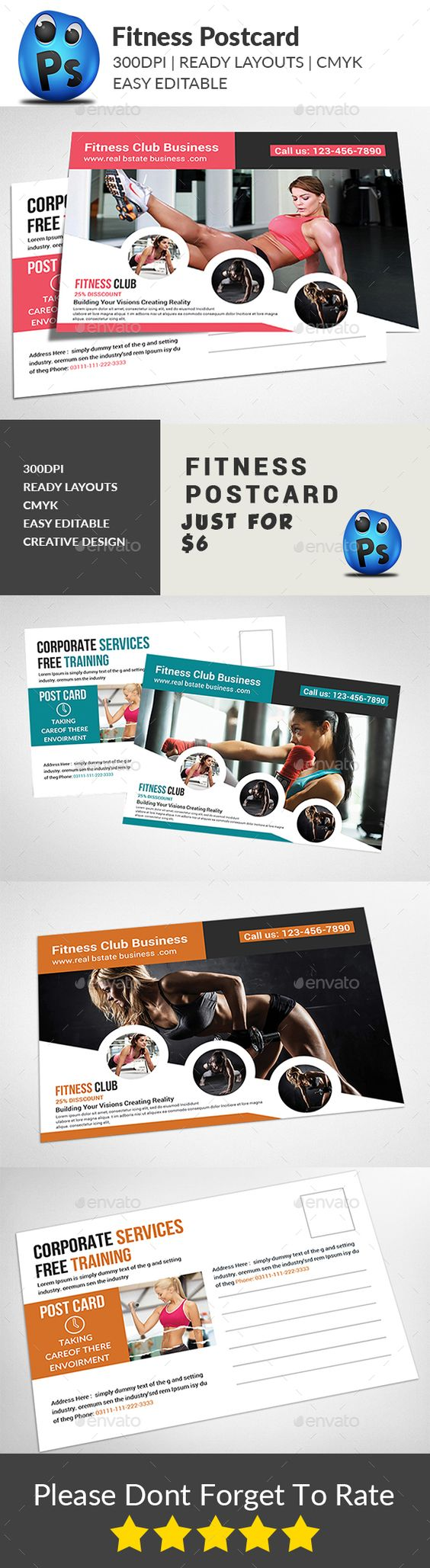 fitness postcard postcards postcard template and fitness fitness postcard psd template advertising pamphlet ➝