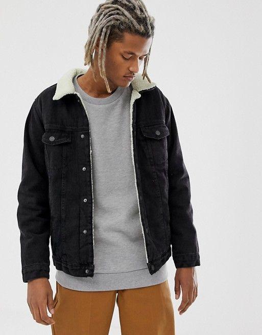 Pull Bear Borg Lined Denim Jacket In Black Asos Lined Denim Jacket Denim Jacket Jackets