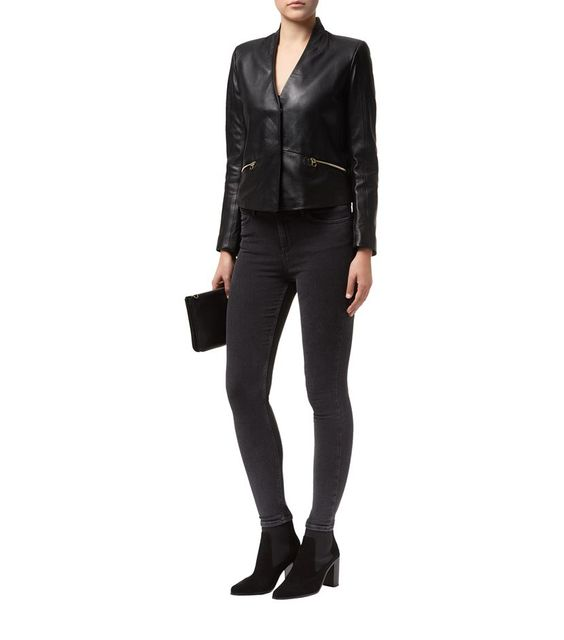 Sandro Vilma Leather Jacket Black | Harrods