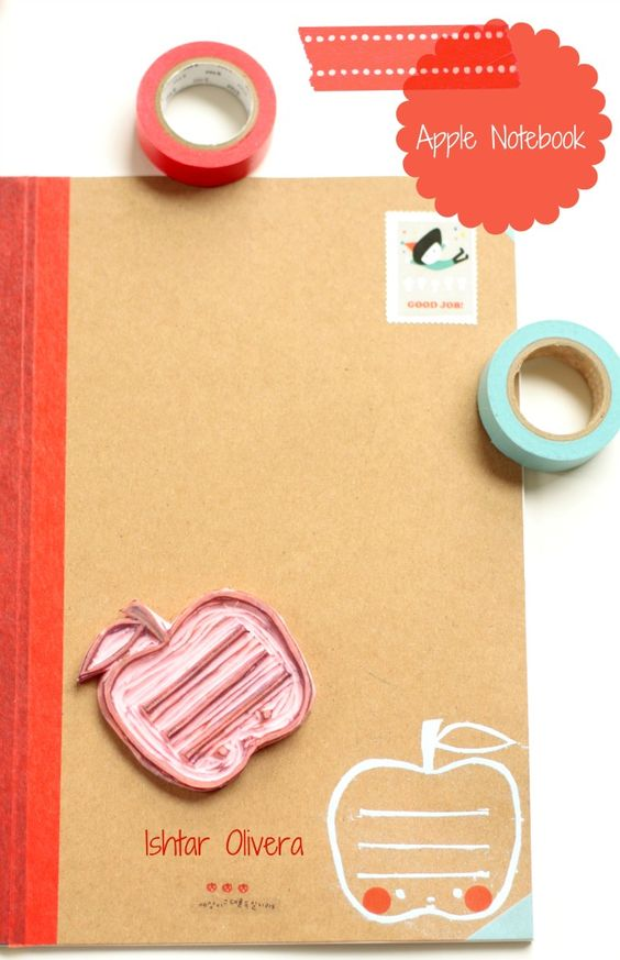 Cute apple stamp, nice combination with tape and typography