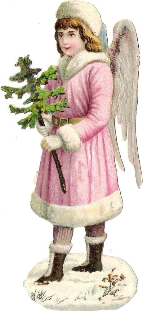 Oblaten Glanzbild scrap die cut chromo Winter Engel  15cm angel XMAS tree Schnee: