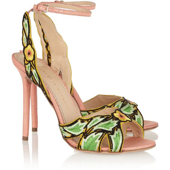 Charlotte Olympia Paradise bead-embellished canvas sandals ($595) ❤ liked on Polyvore featuring shoes, sandals, ankle tie sandals, black buckle sandals, ankle wrap sandals, black high heel sandals and buckle sandals