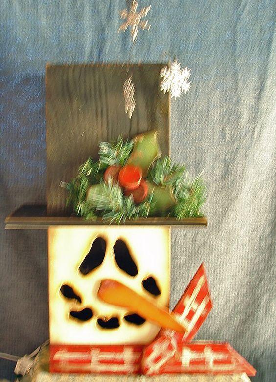 Wooden Snowman Face Christmas Decoration