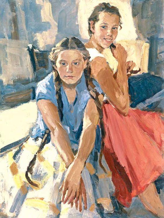 L. Russov. Kira and Zoya. 1958. Oil on canvas, 123 x 93 cm: