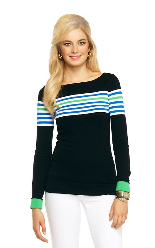 Everyone needs a cute striped sweater for the winter. This season we have a few striped sweaters that will have you swooning. The Maria Boatneck Sweater is a style that you already know and love - this season we have just updated the color combinations.