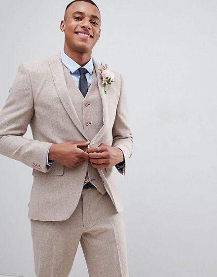 ASOS DESIGN wedding skinny suit jacket in dusky pink herringbone