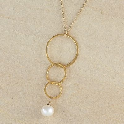 moon drop necklace - handmade hammered vermeil triple circles with freshwater pearl, made by freshie & zero