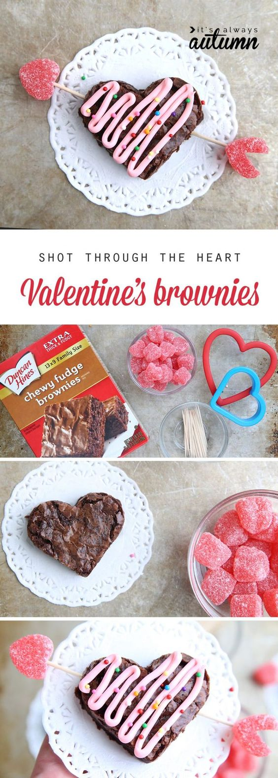 shot through the heart (shaped) Valentine's brownies - It's Always Autumn