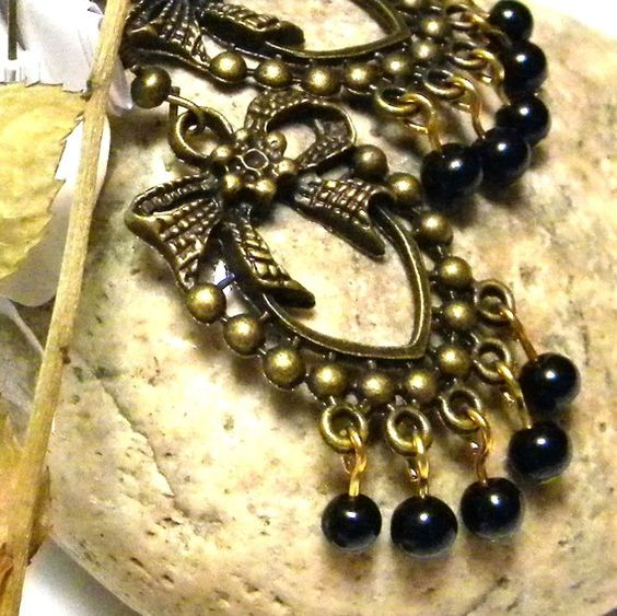 Black Agate and Antique Gold For Your Ears by marilyn1545 on Etsy, $15.00