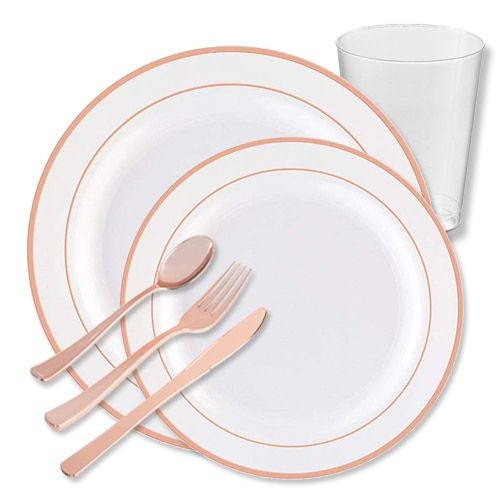 Rose Gold Plastic Combo Pack Disposable Rose Gold Cutlery Posh Party Supplies Fancy Plastic Plates Plastic Plates Wedding Disposable Wedding Plates