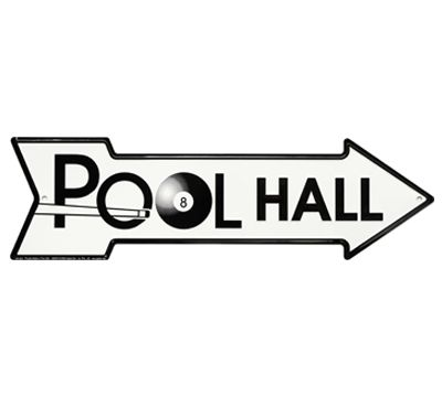 Embossed Metal Pool Hall Sign. Make your game room a statement!
