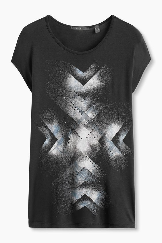 Esprit / T-shirt en jersey fluide à imprimé et rivets