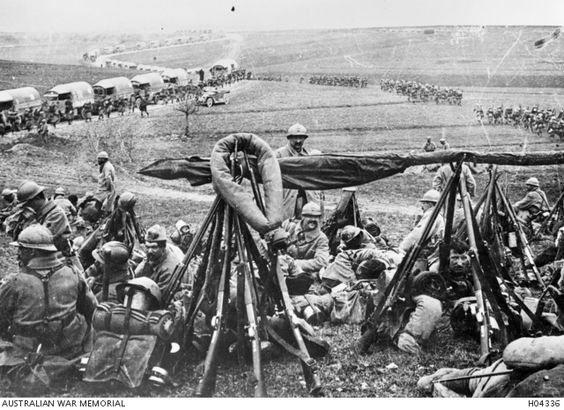 French troops resting during their move from Fort Vaux to Niseville. April, 1916.