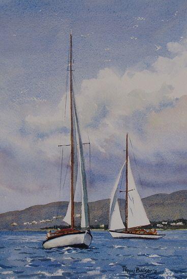 """Last Wooden Boat by Poppy Balser Watercolor ~ 10"""" x 7"""""""