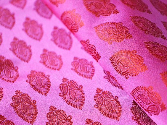Silk Brocade Fabric- Pure Silk Fabric Yardage - Dark Pink and Orange in small leaves pattern Weaving, Wedding Dress Fabric