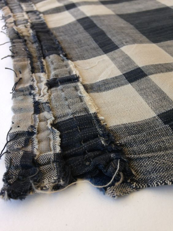 Antique Japanese Indigo Handwoven Boro Patched Scarf Textile - Mujo.