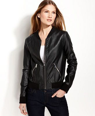 Faux Leather Bomber Jacket Womens - Coat Nj